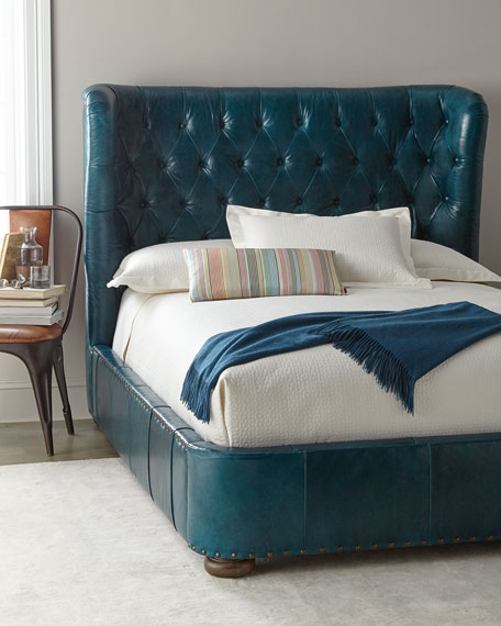 Forrest Tufted Leather Queen Shelter Bed and Matching