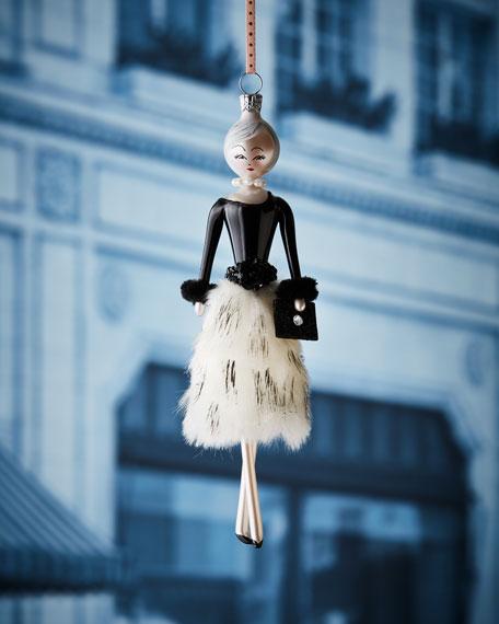 De Carlini Lela in Faux-Fur Skirt Christmas Ornament