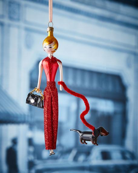De Carlini Jill in Red Pants Christmas Ornament
