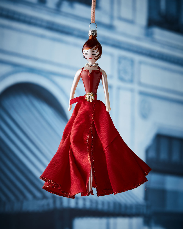 De Carlini Julia in Burgundy Gown Christmas Ornament | Neiman Marcus