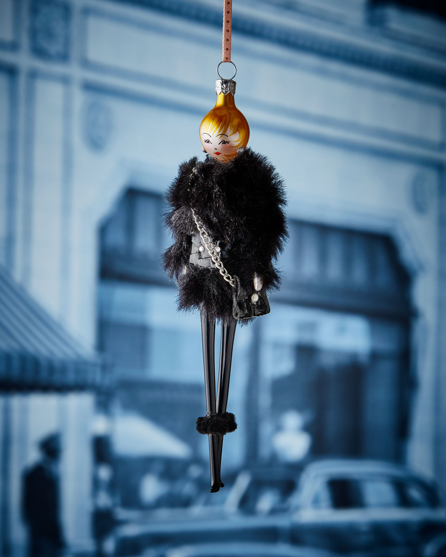 De Carlini Rose In Faux Fur Jacket Ornament Neiman Marcus