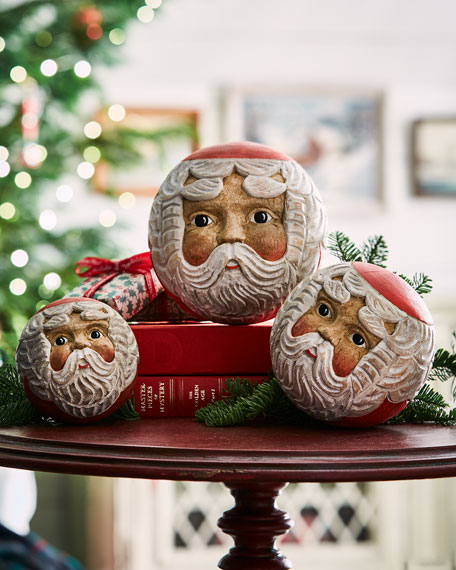 Santa Face Ball Christmas Ornaments, Set of 3