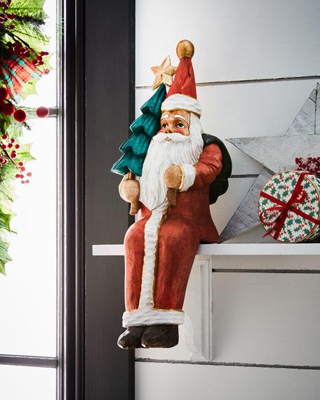 Sitting Santa with Tree