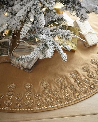 Glimmer & Gold Beaded Christmas Tree Skirt
