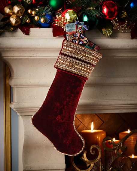Velvet Beaded Stocking