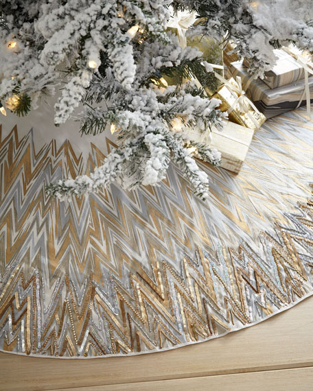 Chevron Tree Skirt with Beaded Edge