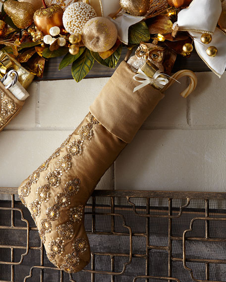 Glimmer & Gold Beaded Stocking with Cuff