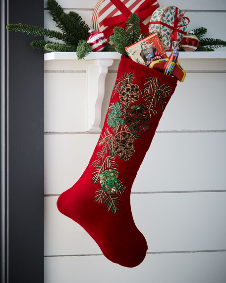 Beaded Pinecone Stocking without Cuff