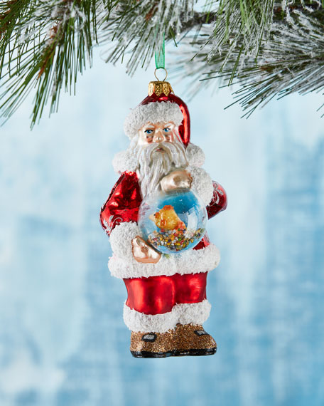 Santa with Fish Bowl Ornament