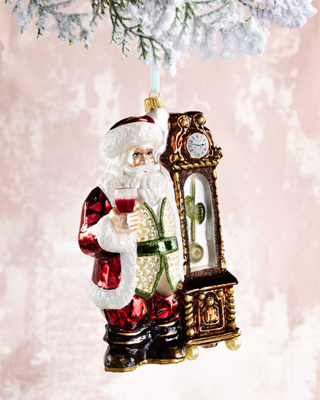 Santa with Clock Christmas Ornament