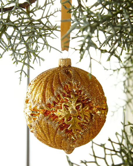 Moulded Glass Ball Christmas Ornament in Gold