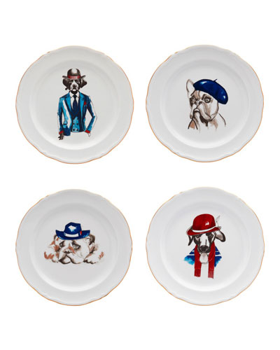 Le Frenchies Dessert Plates, Set of 4