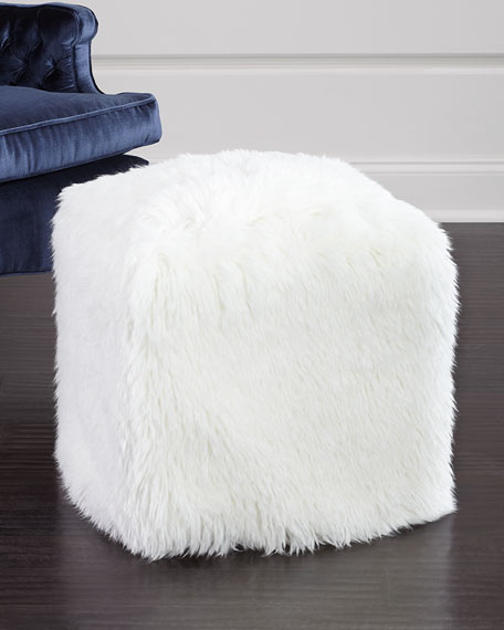 Fabulous Furs Faux-Fur Pouf Stool