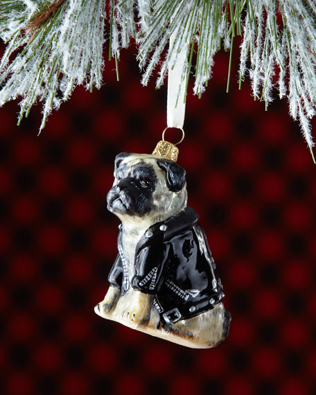 Pug Dog in Moto Jacket Christmas Ornament
