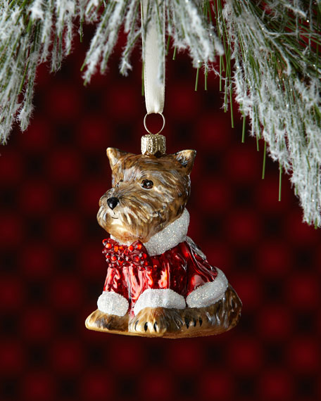 Yorkie Dog in Sweater Christmas Ornament