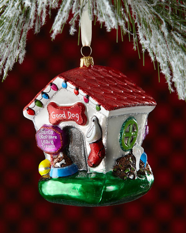goodbad 2 sided dog house christmas ornament - House Christmas Ornament