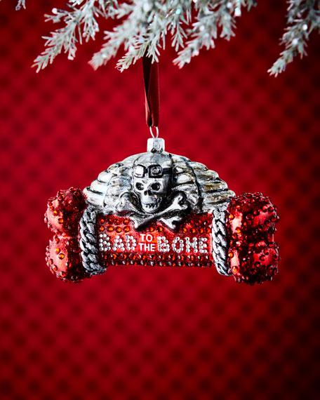 """""""Bad To The Bone"""" Dog Bone Ornament"""