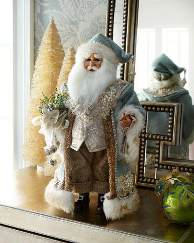 Blue Standing Santa Figurine