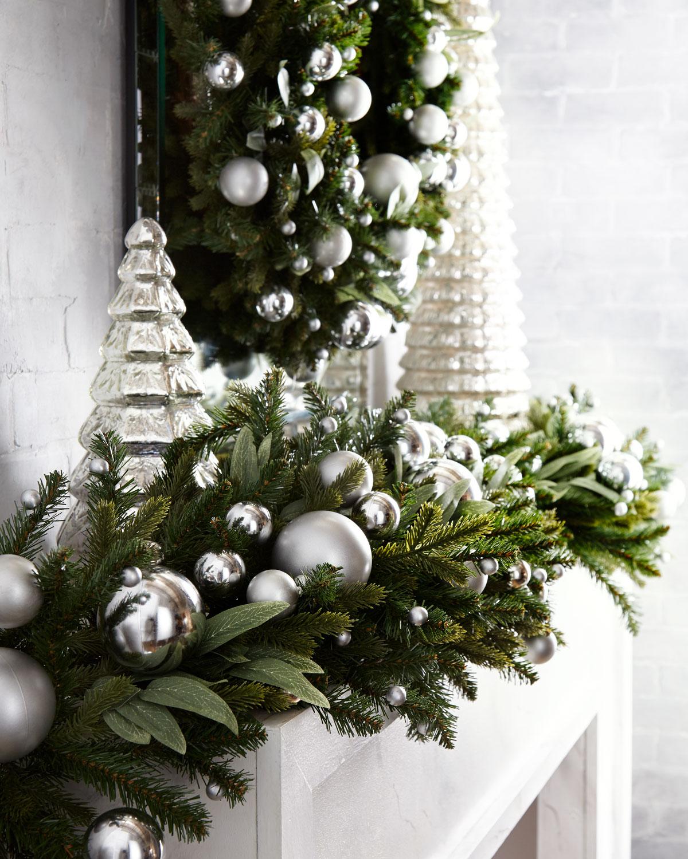 White Christmas Trees Ideas: Green Ivy Leaf & Silver Ball Christmas Garland, 6