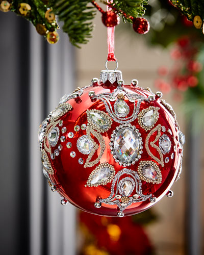 Red Shiny Glass Ball Christmas Ornament With Jewels