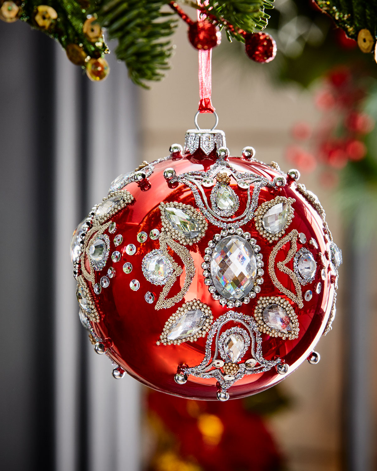 Red Shiny Glass Ball Christmas Ornament With Jewels ...