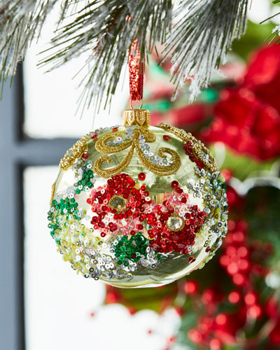 gold metallic multicolored decorated ball ornament