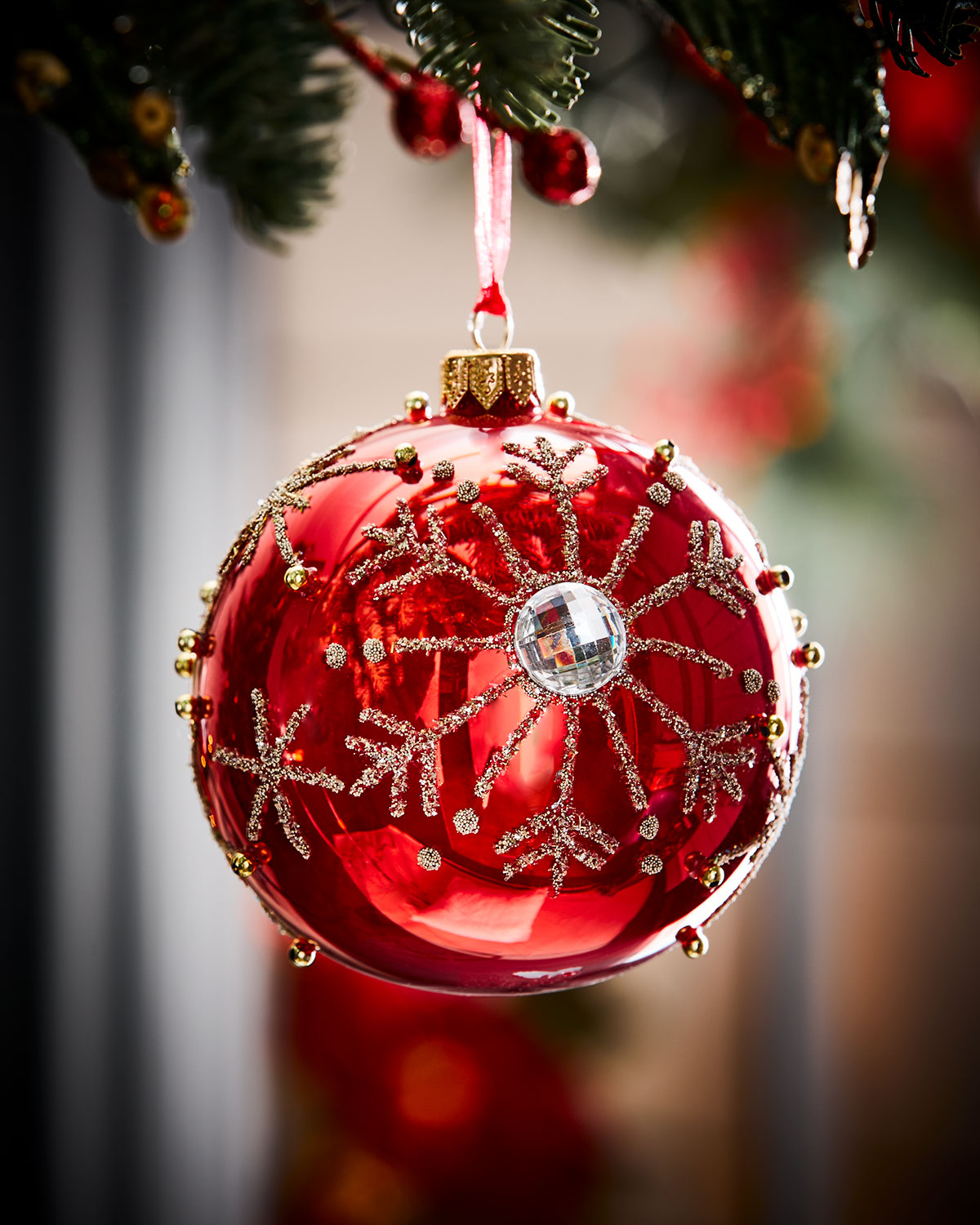 red opal glass ball christmas ornament w silver snowflakes - Red And Silver Christmas Ornaments