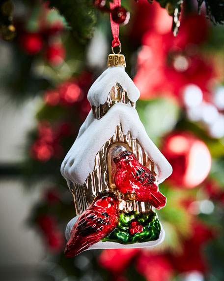 Birdhouse With Cardinals Christmas Ornament