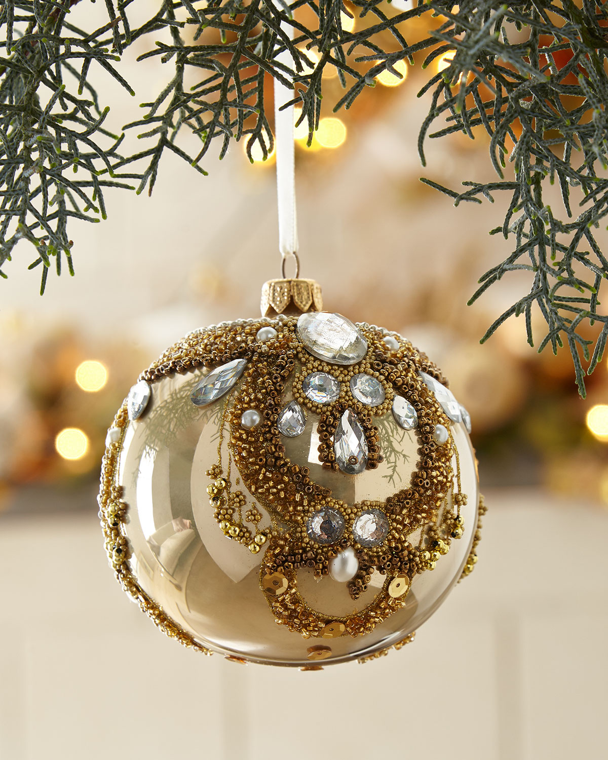 Gold Opal Glass Ball Christmas Ornament With Clear Stones ...