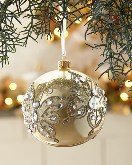 Gold Opal Glass Ball Christmas Ornament With Gold