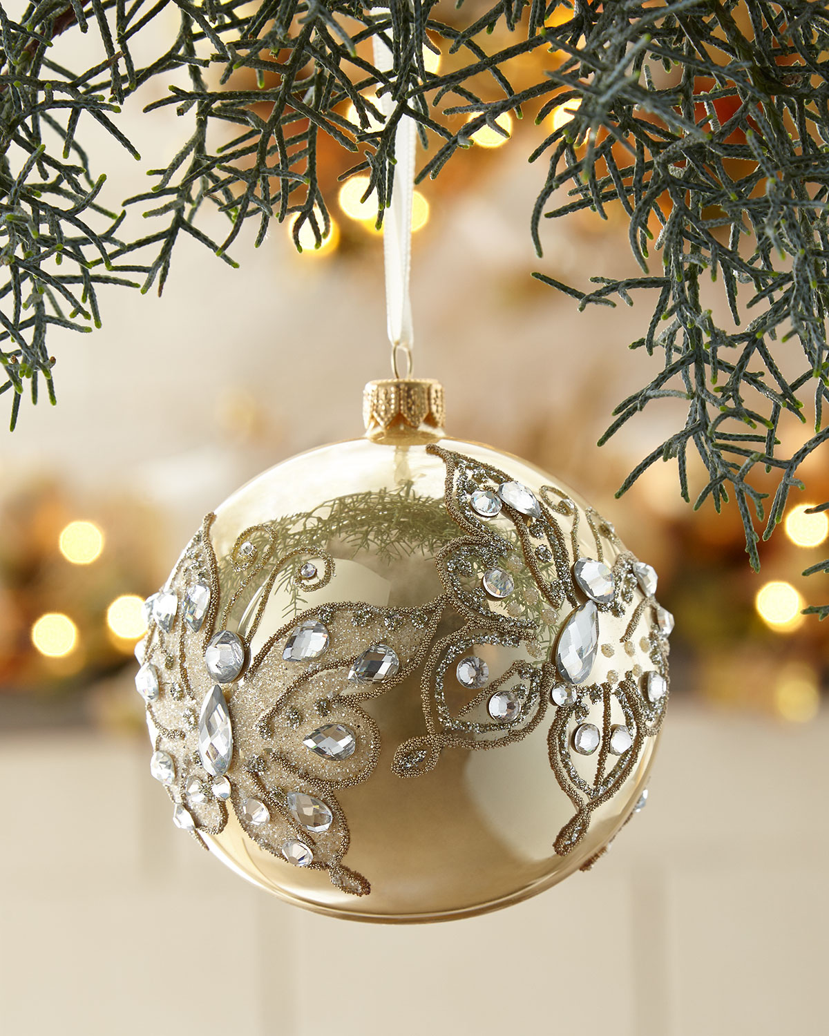 gold opal glass ball christmas ornament with gold butterfly