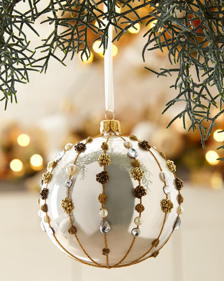 Champagne Opal Glass Ball Christmas Ornament With Ver