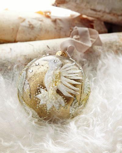 Gold Glass Ball Christmas Ornament With Bird & Flower