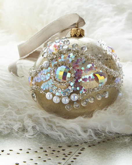 Gold Glass Ball Christmas Ornament With Silver