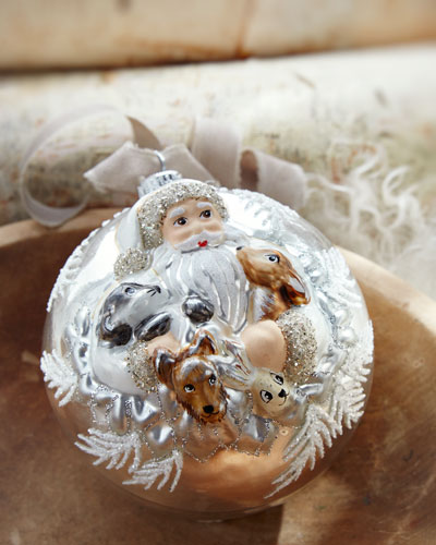 Large Ball Christmas Ornament With Santa And Friends