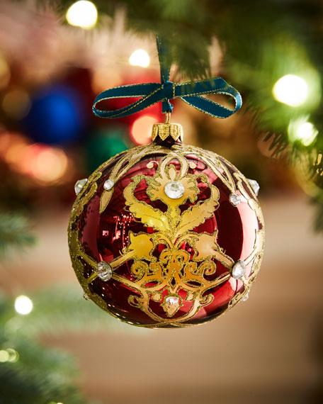 Burgundy Shiny Glass Ball Christmas Ornament With Gold