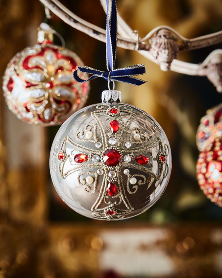 Grey Opal Glass Ball Christmas Ornament With Red
