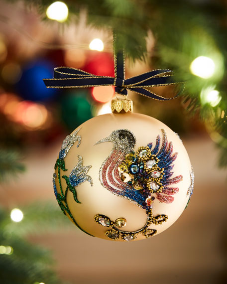 Gold Matte Glitter Bird Glass Ball Christmas Ornament