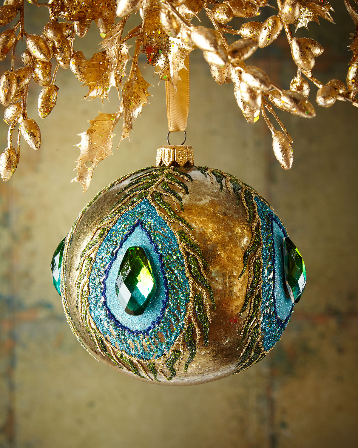 Gold Glassy Peacock Glass Ball Christmas Ornament | Neiman Marcus