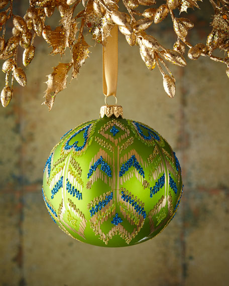 Green Matte Peacock Glass Ball Christmas Ornament