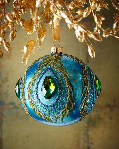 Sapphire Glassy Peacock Ball Christmas Ornament