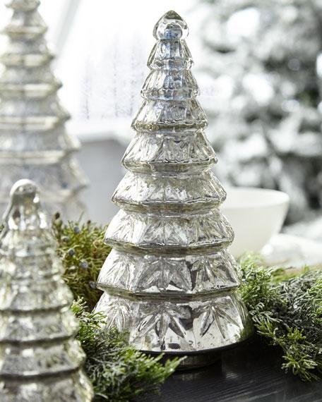 Mercury-Glass Layered Tabletop Christmas Tree, Medium
