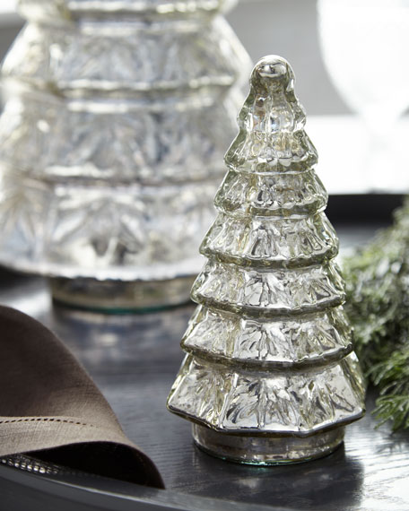 Mercury-Glass Layered Tabletop Christmas Tree, Small