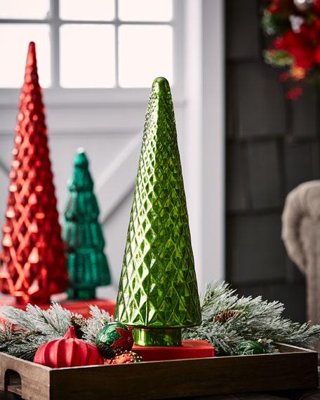 Mercury-Glass Green Diamond Tabletop Christmas Tree