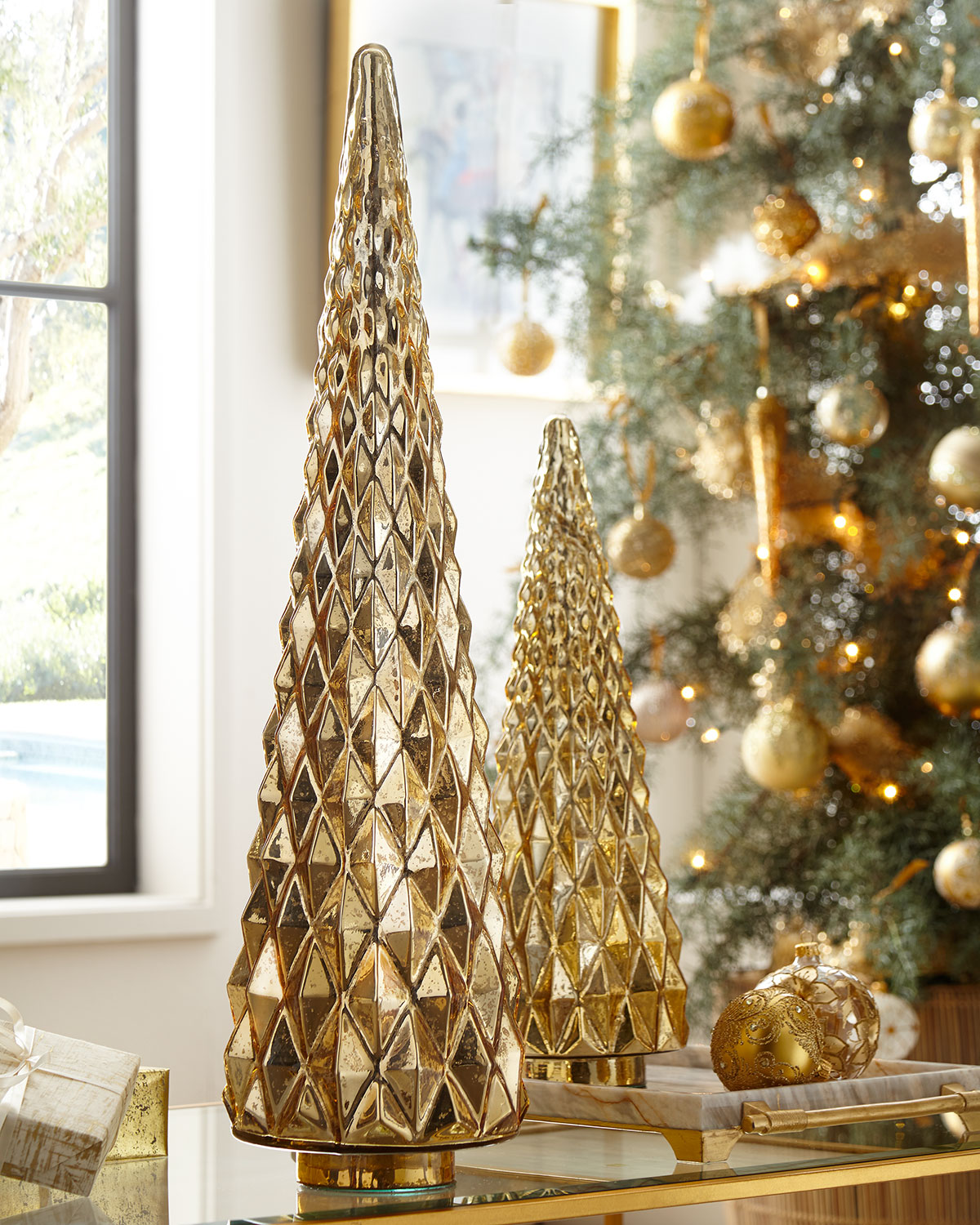 Mercury-Glass Hobnail Tabletop Christmas Tree