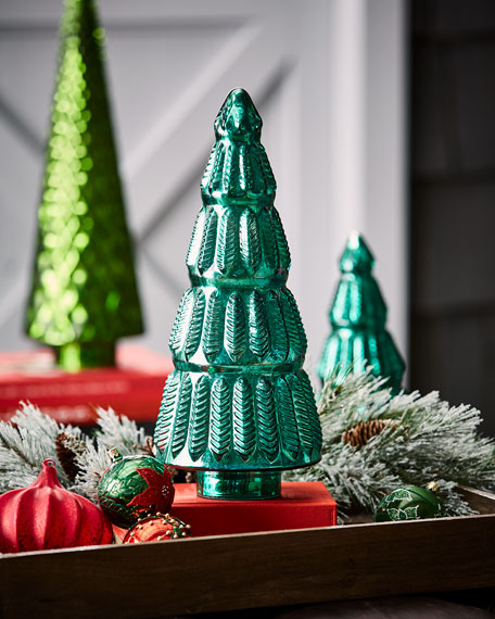 Mercury-Glass Green Leaf Tabletop Christmas Tree, Medium