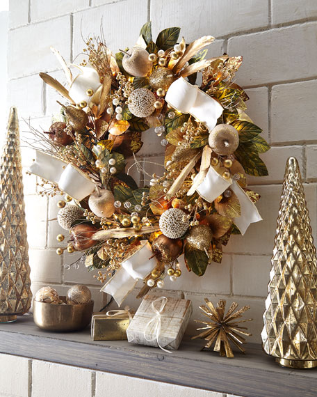 Glimmer & Gold Prelit Wreath, 28