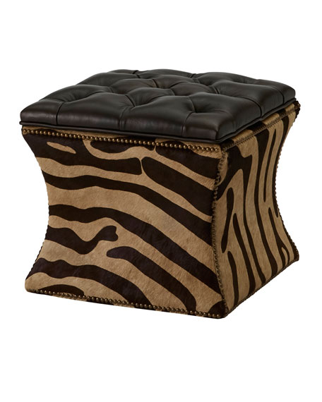 One-of-a-Kind Zebra Stamped Ottoman