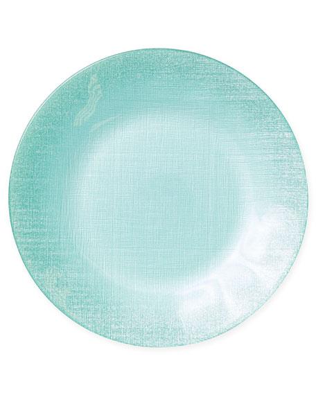 Glitter Glass Service Plate, Aqua