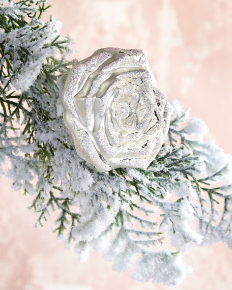Glittered Silver Rose on Clip